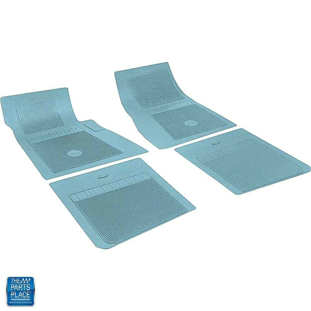 1966 72 Chevrolet Light Blue Rubber Floor Mats 4 Pieces