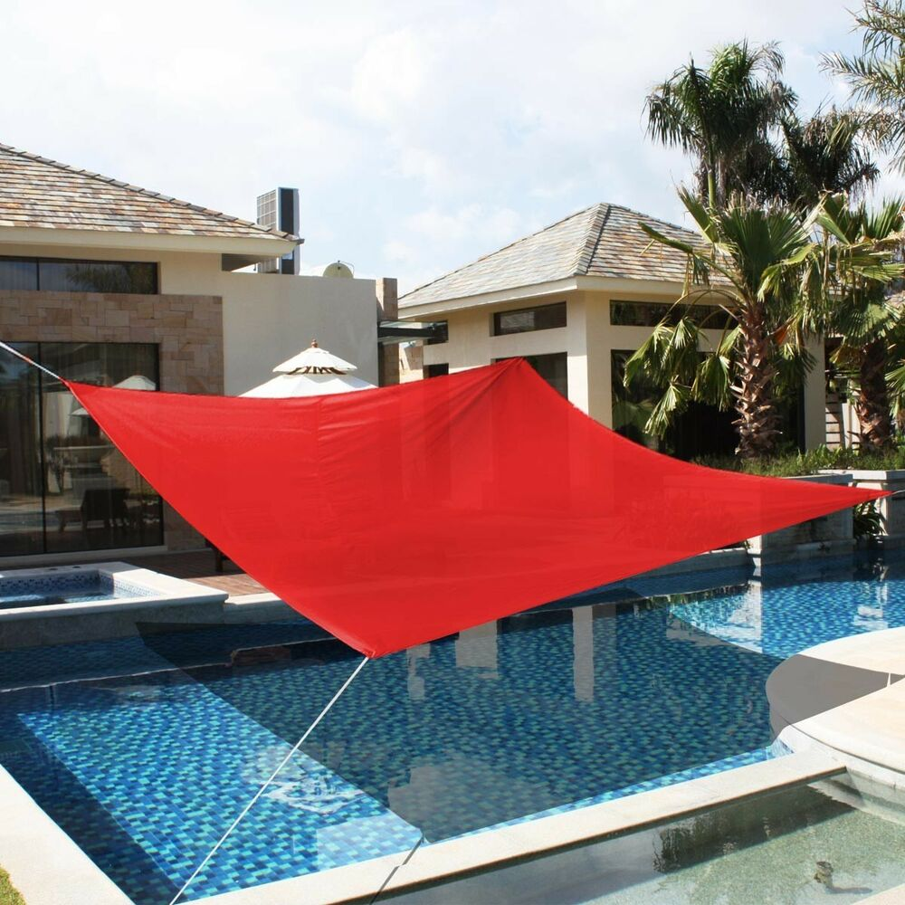 18 39 x18 39 deluxe square sun shade sail uv top outdoor canopy patio lawn red new ebay. Black Bedroom Furniture Sets. Home Design Ideas