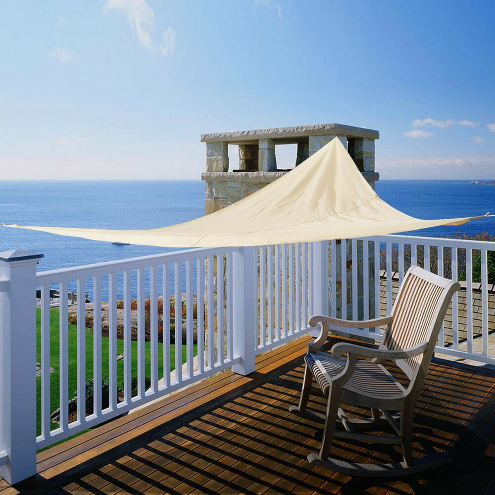 12 39 x12 39 x12 39 triangle sun shade sail uv top outdoor canopy patio lawn beige ebay. Black Bedroom Furniture Sets. Home Design Ideas