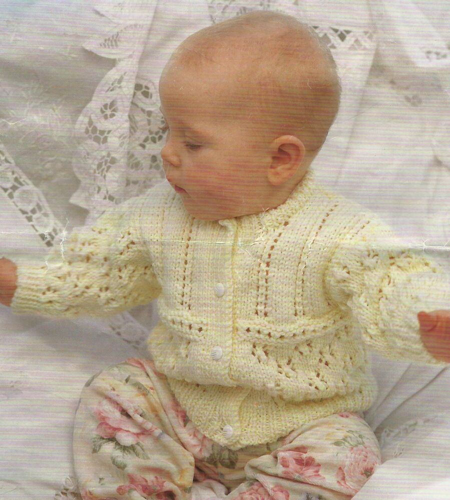 Knitting Patterns For Babies Double Knitting : Baby Girls Knitting Pattern Cardigan 16-26