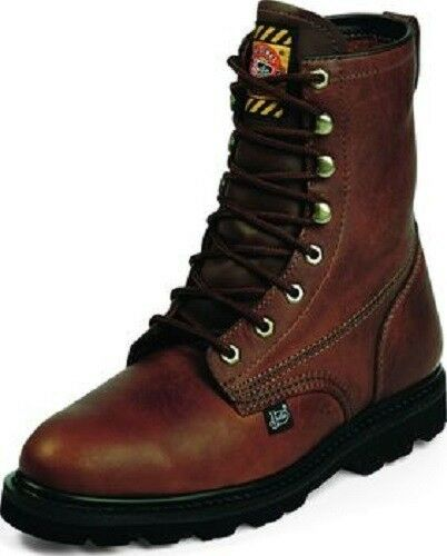 Mens Justin 8 Inch Lace Up Steel Toe Tan Leather Work Boot