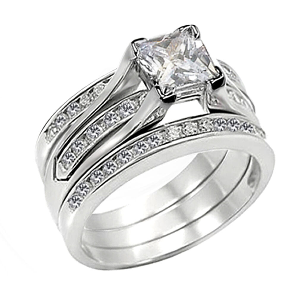 3 pc womens 255ct princess cut sterling silver wedding for 3pc wedding ring set