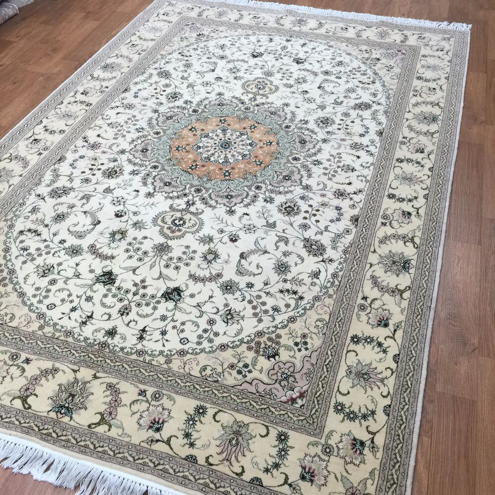 Shop Beige Wool Hand Knotted Oriental Persian Area Rug 6: 6'x9' Handmade Persian Wool Silk Area Rug Oriental Design