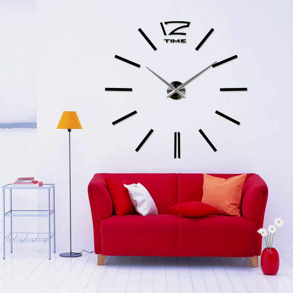 giant vinyl adhesive stainless big black wall clock. Black Bedroom Furniture Sets. Home Design Ideas