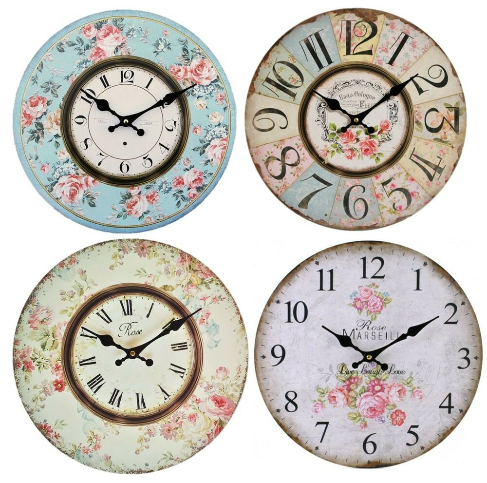 Wall Clock 34cm Wooden Floral Vintage Antique Style Shabby