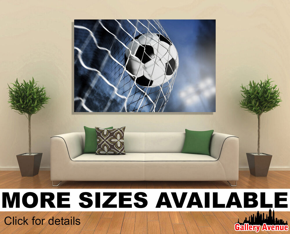 wall art canvas picture print soccer ball in the net. Black Bedroom Furniture Sets. Home Design Ideas