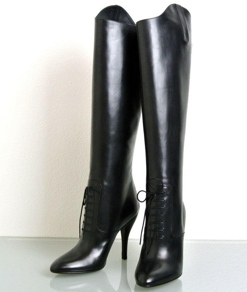 New Authentic GUCCI Elizabeth High Heel Leather Riding Boots Shoes ...