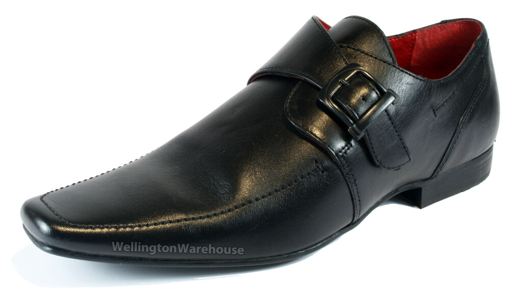 redtape mersey black leather monk pointy toe buckle mens