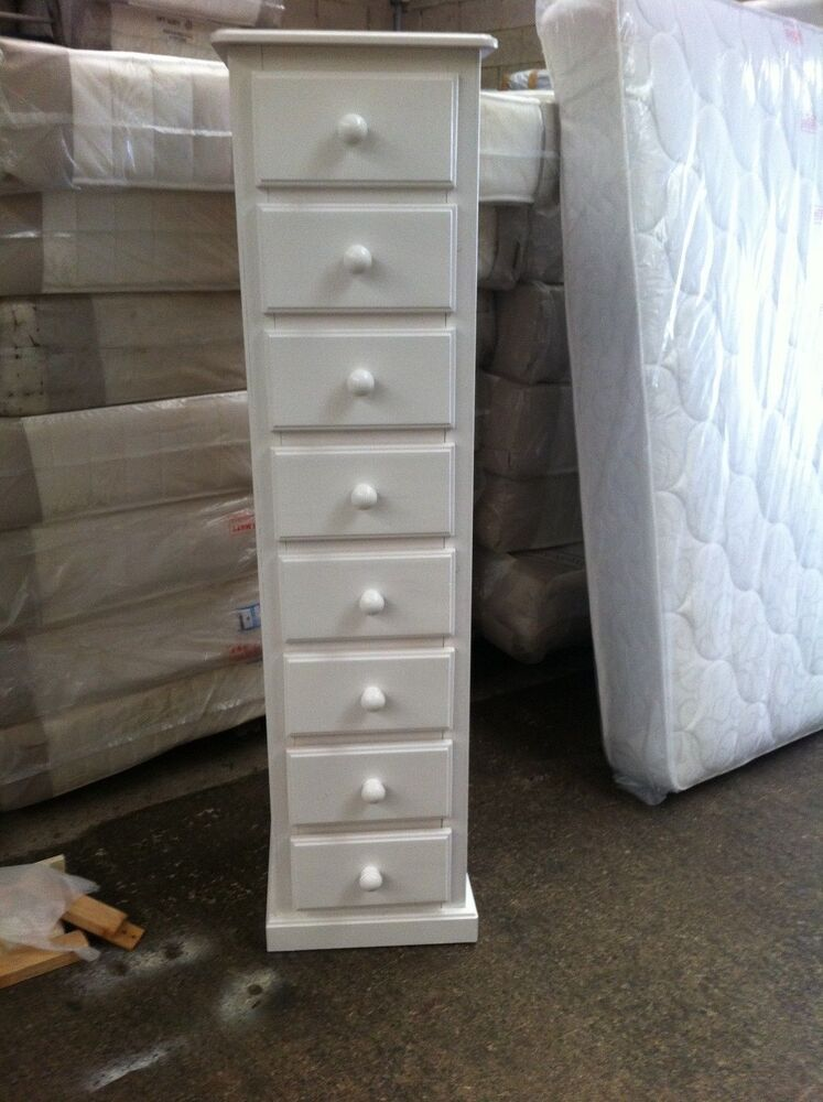 Hand Made White Shabby Chic 8 Drawer Narrow Tall Boy Slim