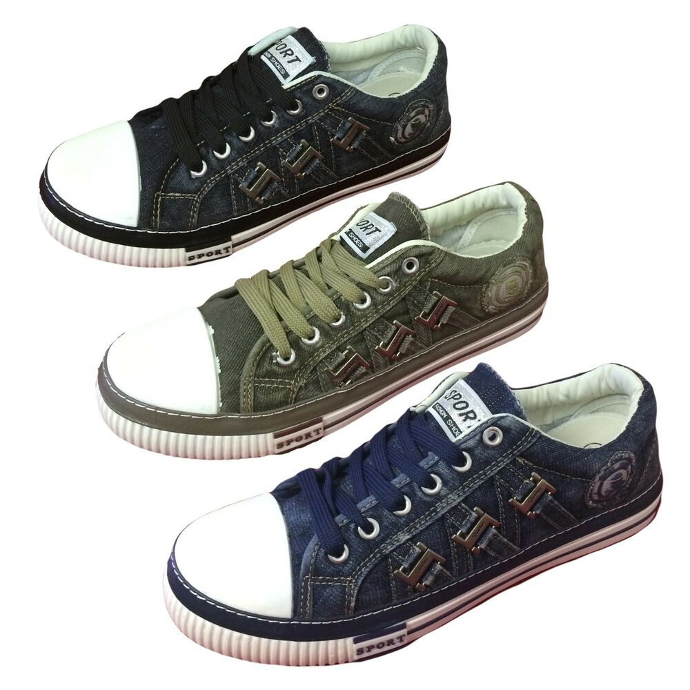 mens canvas sneakers denim lace up casual shoes