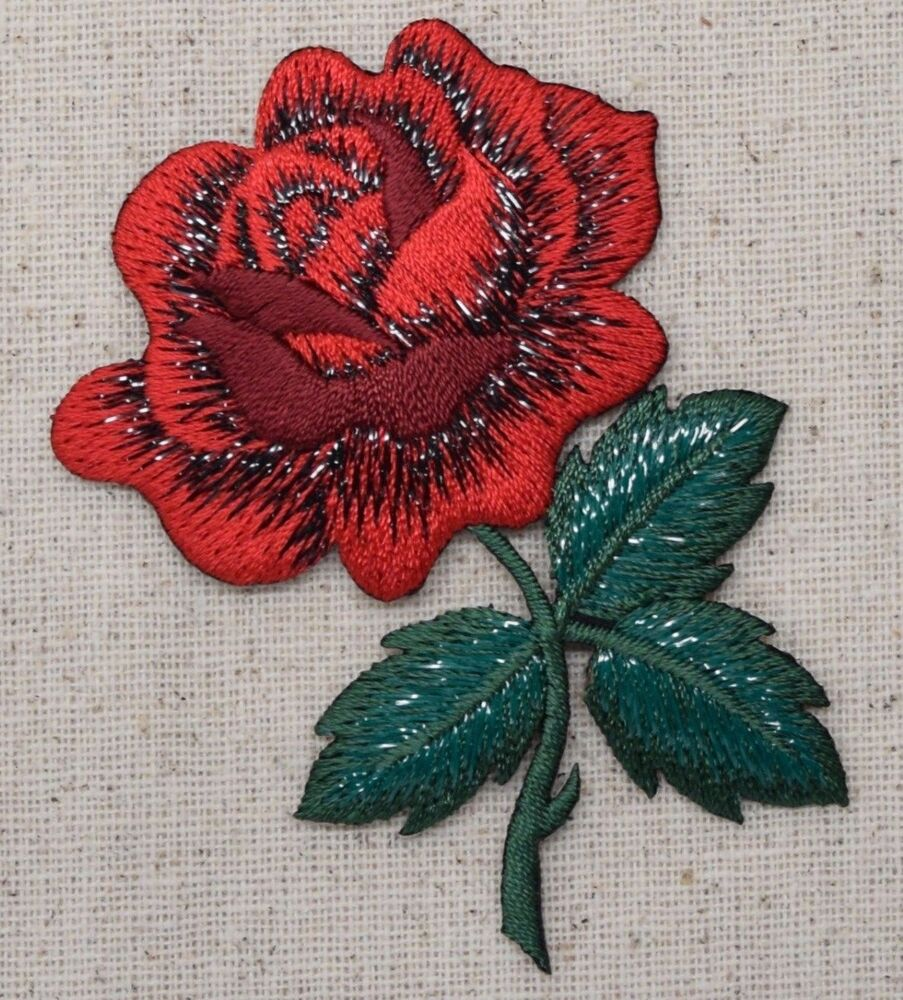 Iron on embroidered applique patch large single red rose
