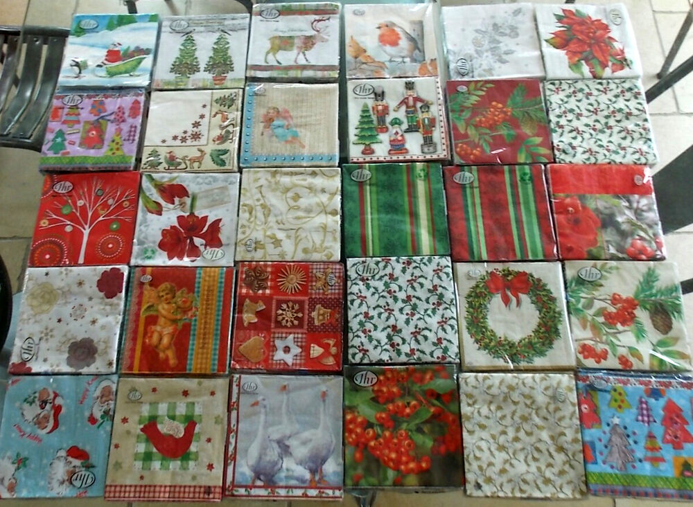 30 Different Assorted Individual Christmas Paper Napkins