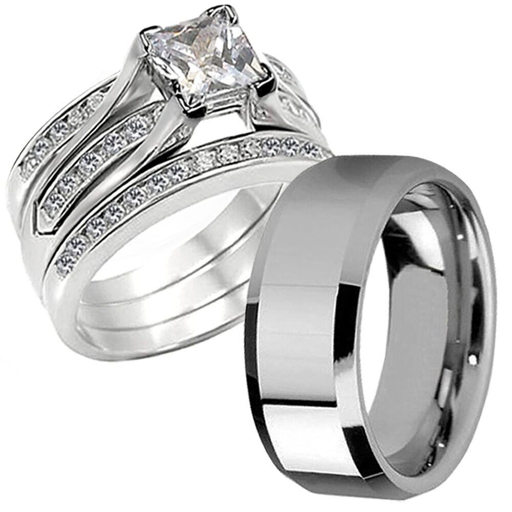 Wedding Bands Sets: Hers CZ Princess Sterling Silver His Stainless Steel