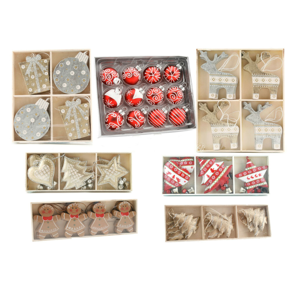 Hanging Christmas Tree Decorations Packs Metal Wooden Red