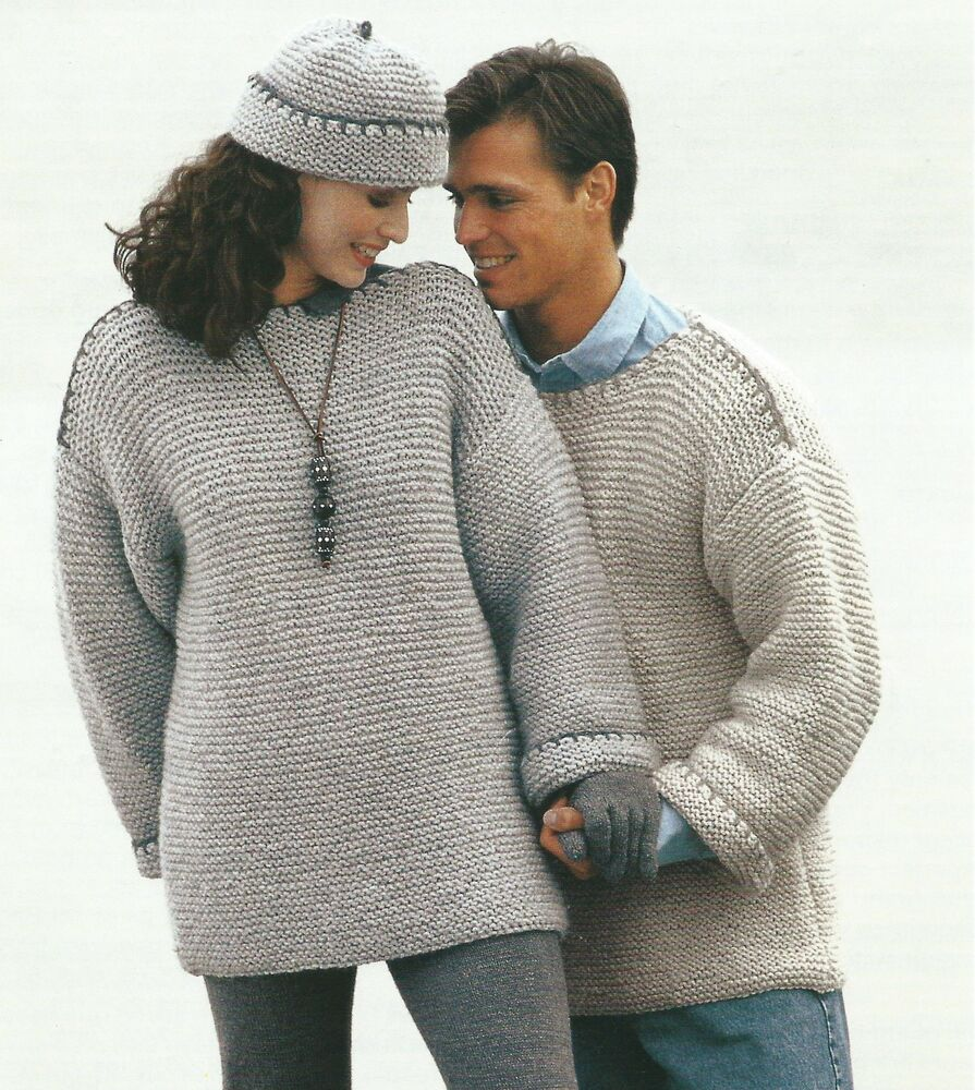 Knit A Sweater Easy : Ladies mens knitting pattern chunky sweater hat easy knit