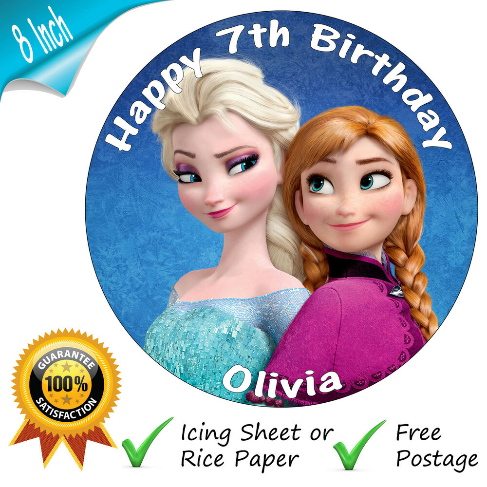 "DISNEY FROZEN ANNA & ELSA PERSONALISED 8"" ROUND EDIBLE"