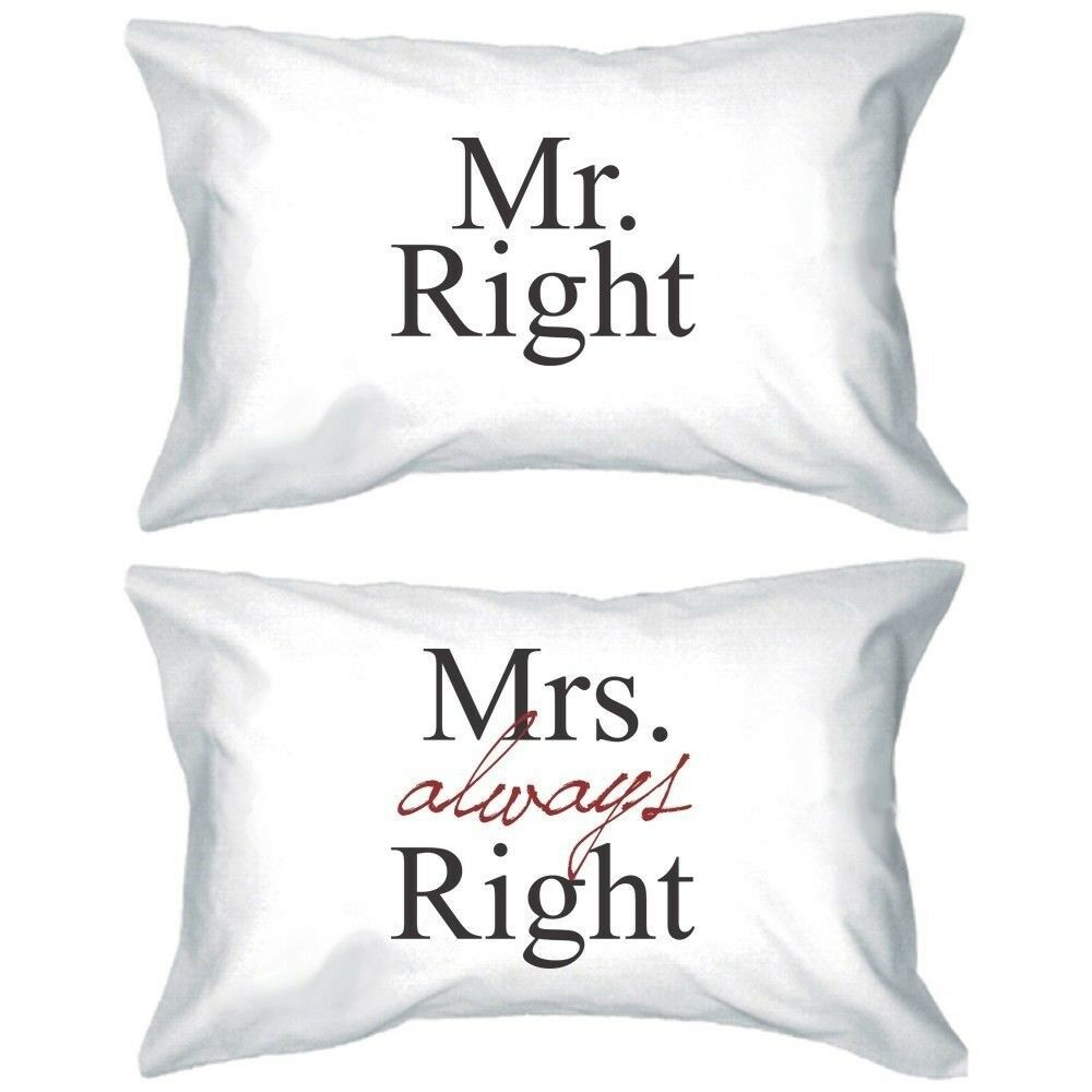 his and hers matching pillowcases mr right and mrs. Black Bedroom Furniture Sets. Home Design Ideas