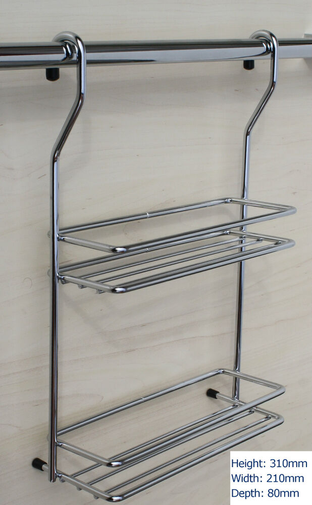Chrome Hanging Rail Spice Jar Rack Kitchen Storage Holder