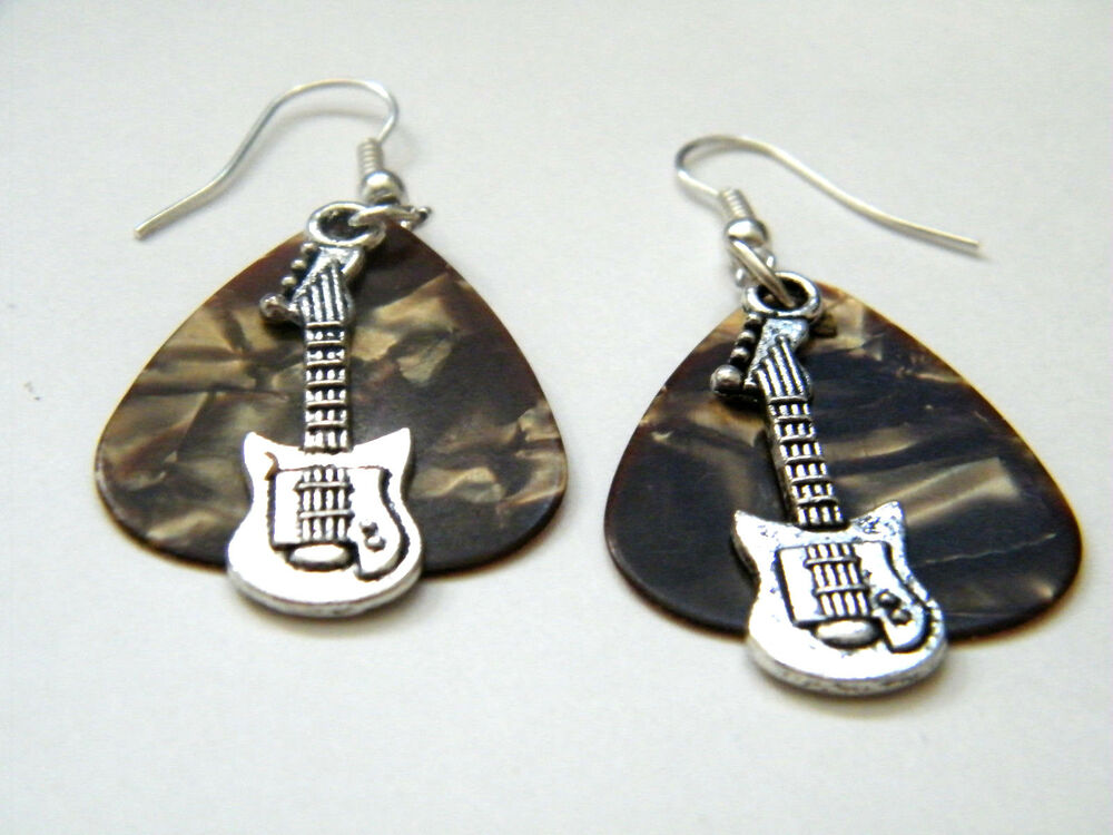 GUITAR PICK EARRINGS BROWN ROCK & ROLL EAR RINGS & MINI ...