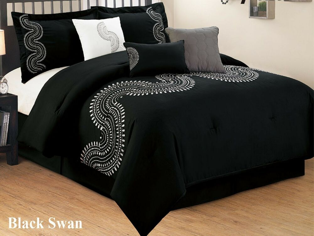7 Pc Black And White Embroidered Microfiber Comforter Set