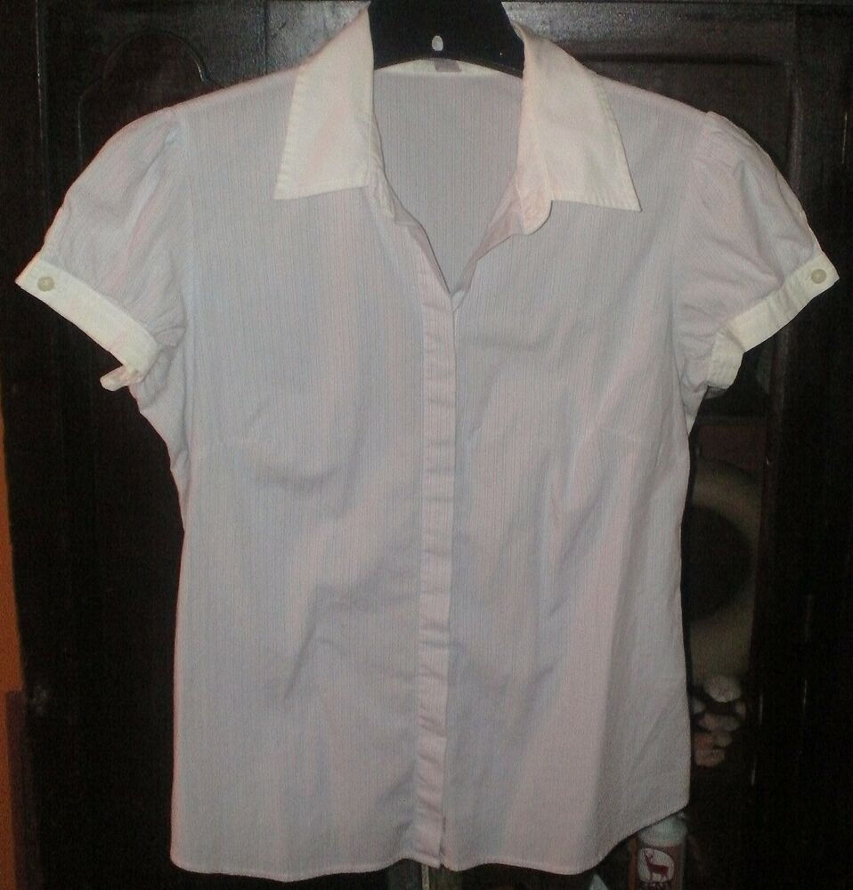 Old Navy Red White Blue Stripe Button Up Front Shortsleeve