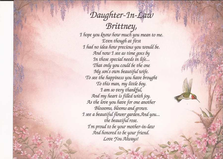 Daughter Son In Law Personalized Poem Christmas Gift: Personalized Daughter-In-Law Poem Gift Birthday Wedding