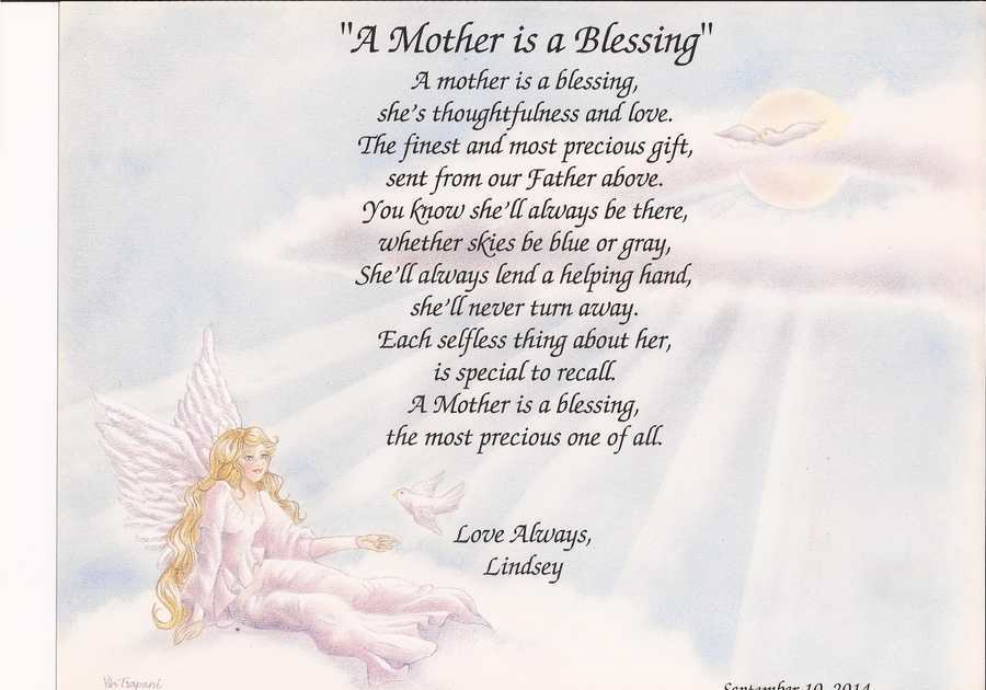 """Beautiful Gifts For Mom Birthday: Personalized Poem For Mom """"A Mother Is A Blessing"""