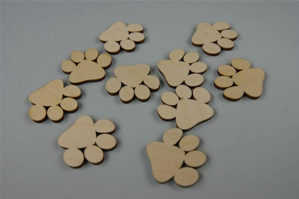 30x wooden small paws dog cat embellishment room child for Decor y8