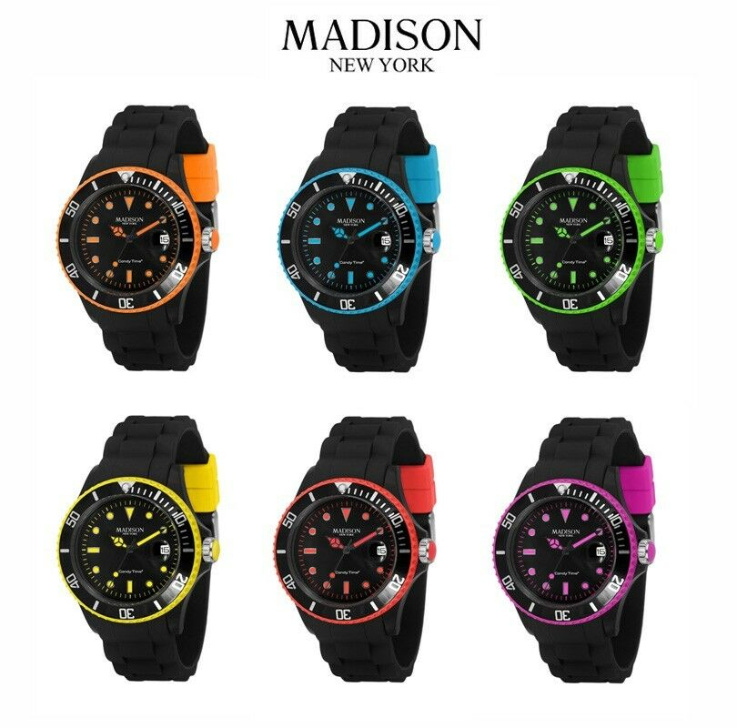 madison new york black line neon silikon uhr gummi bunte farbige uhren unisex ebay. Black Bedroom Furniture Sets. Home Design Ideas