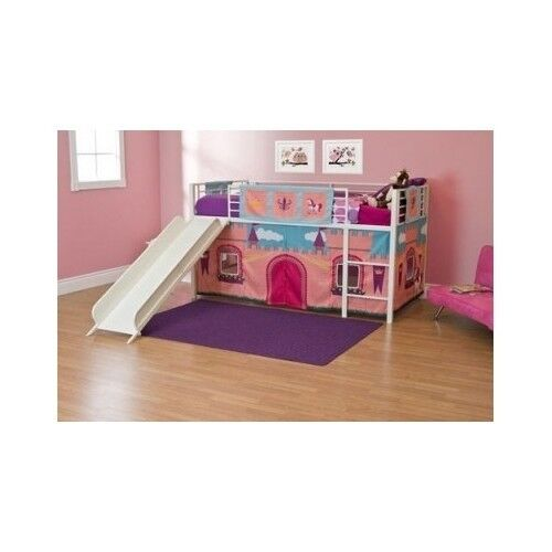 princess castle loft twin bunk bed slide kids girls furniture storage play area ebay. Black Bedroom Furniture Sets. Home Design Ideas