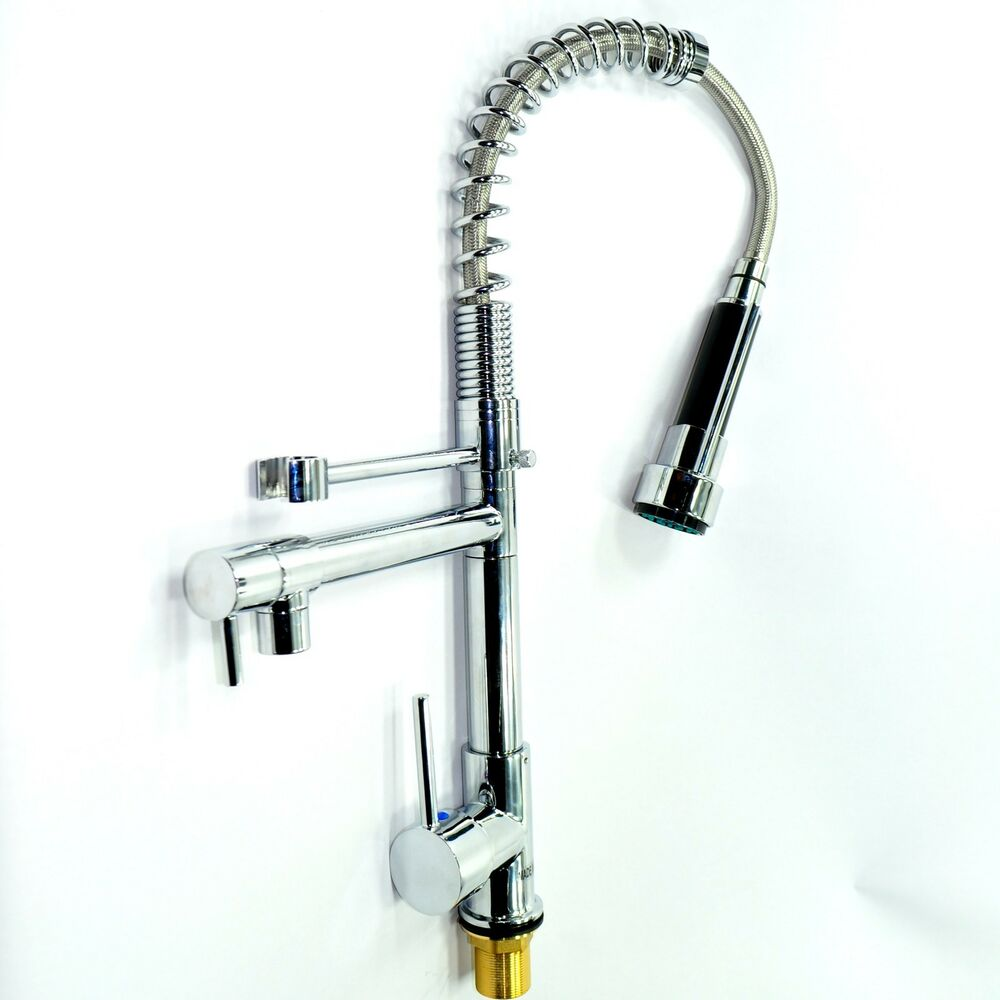 New Tall Chrome Pull Down Spring Dual Spray Kitchen Faucet