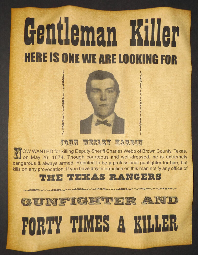 john wesley hardin wanted poster  western  outlaw  old