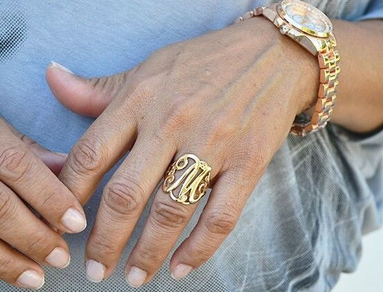 Women39s monogram script letter initial ring gold silver ebay for Gold ring models with letters
