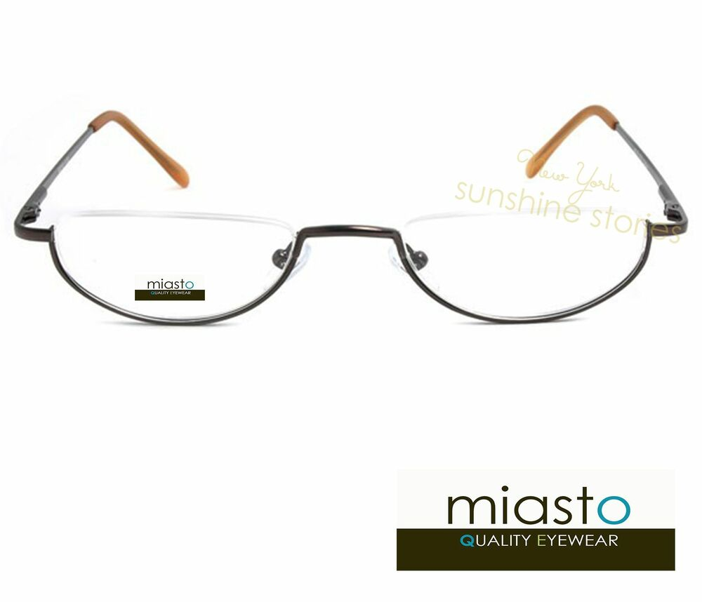 9b833513c9 MIASTO SEMI RIMLESS METAL OVAL MOON 1 2 HALF FRAME READER READING GLASSES  SPECS