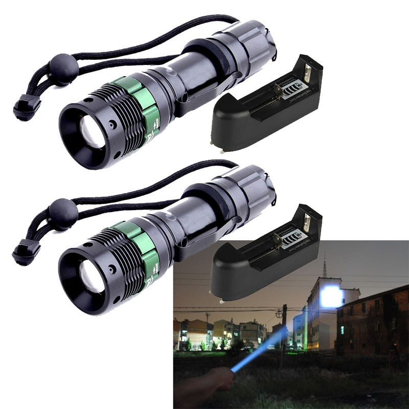 2x 4000lm zoomable xm l t6 led flashlight torch zoom lamp light smart charger ebay. Black Bedroom Furniture Sets. Home Design Ideas
