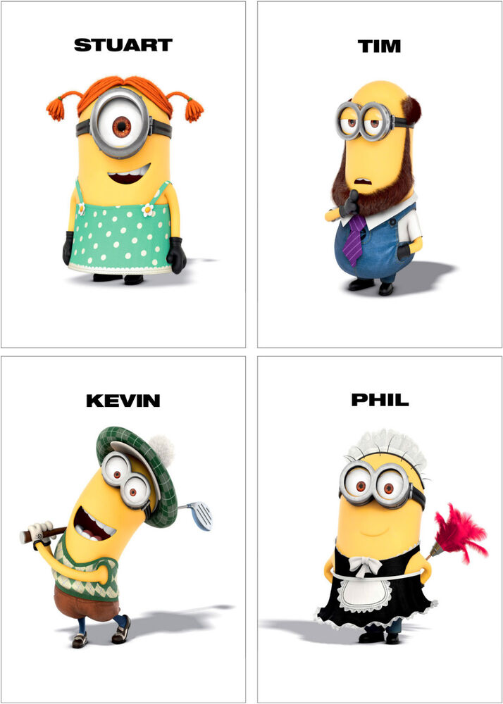 Despicable Me 2 Minions Characters Poster Set of 4 - A4 A3 ...  Despicable