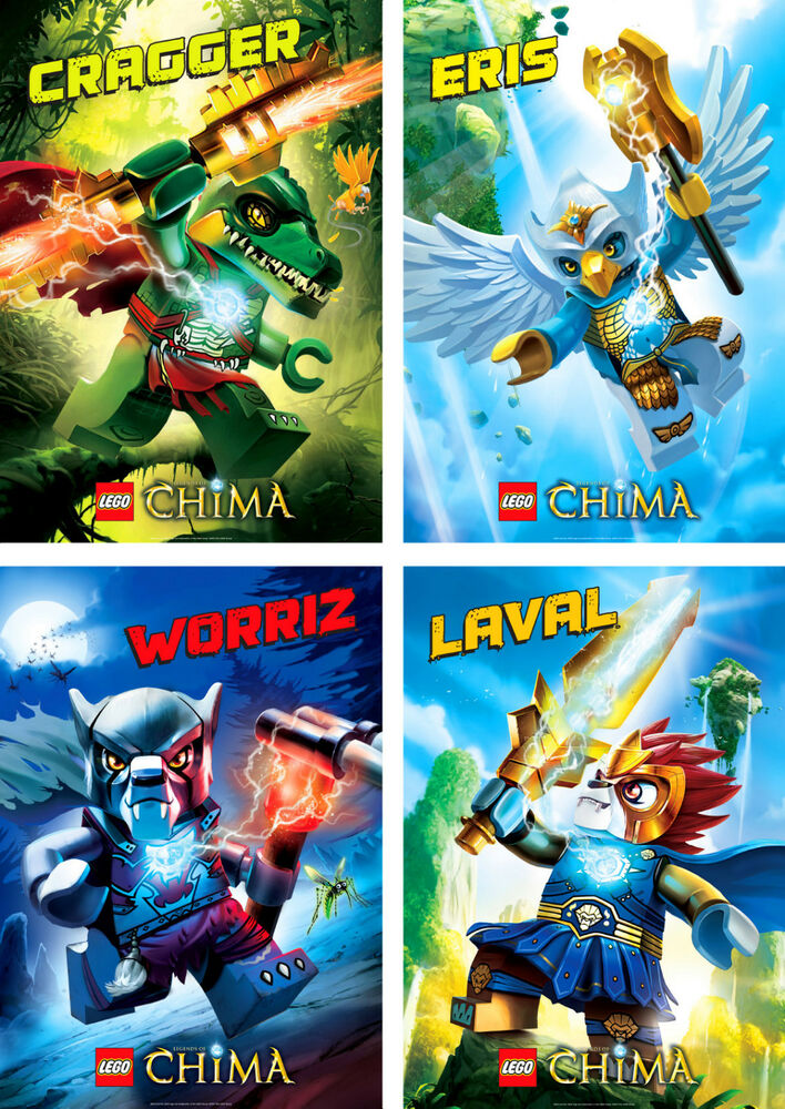 lego legends of chima characters poster set of 4 a4 a3