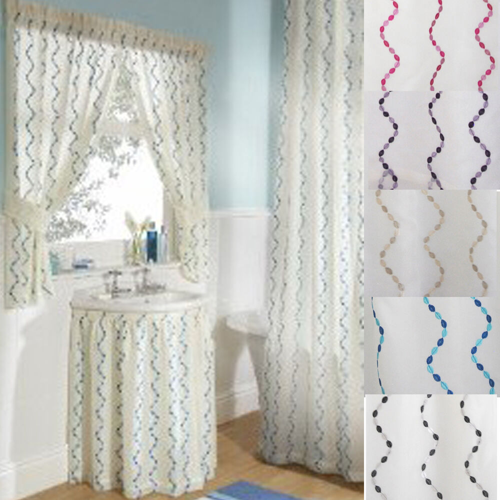 waves embroidered voile bathroom shower or window curtains