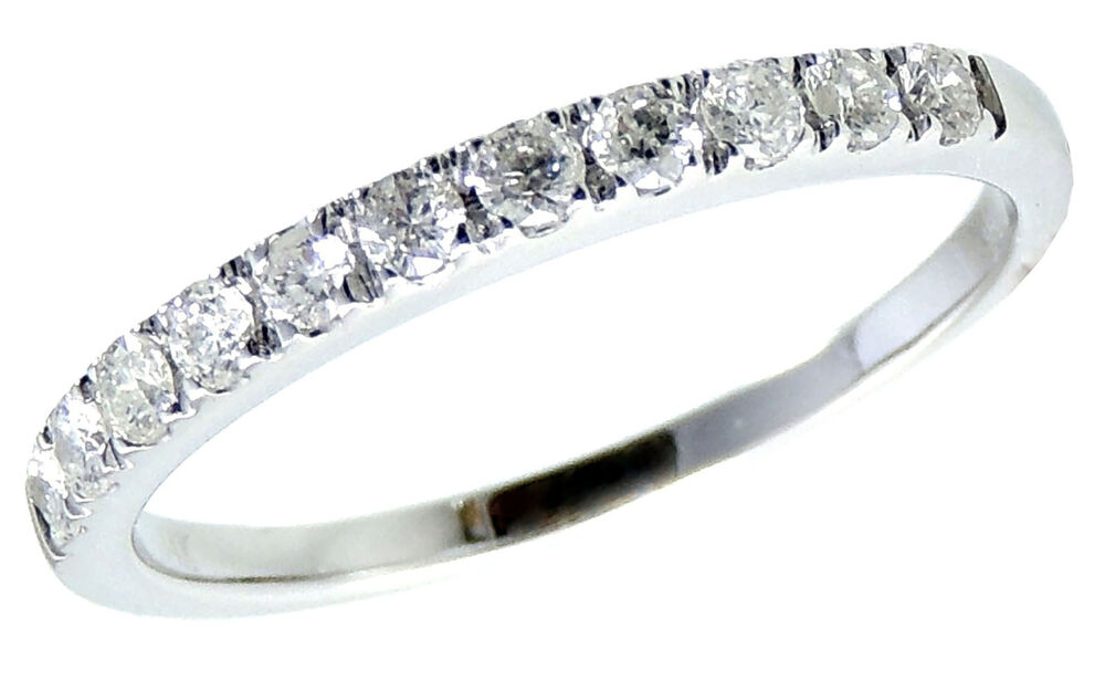 Diamond Wedding Ring Band 030 Carats Womens 14K White Gold Classic Traditional