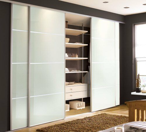 4 Panel Sliding Glass Door: 3 Door Soft White Glass Silver Framed 4 Panel Sliding