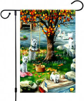 """WESTIE painting """"AUTUMN Comes Early"""" GARDEN FLAG West Highland Terrier Dog ART"""