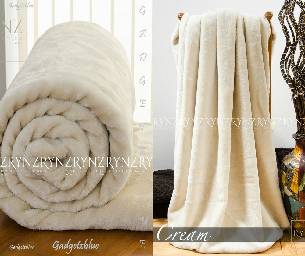 New Luxury Soft Faux Fur Mink Throw Sofa Bed Blanket Cream