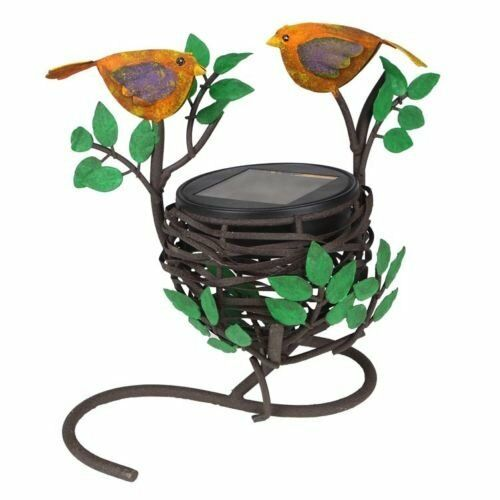 Solar love birds nest light for indoor and outdoor table for Decorative birds for outside