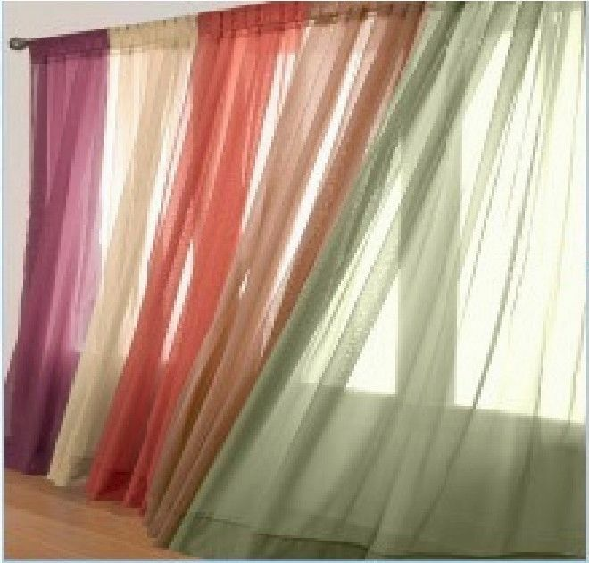 Solid voile sheer fully stitshed hemmed window curtain for Window voiles