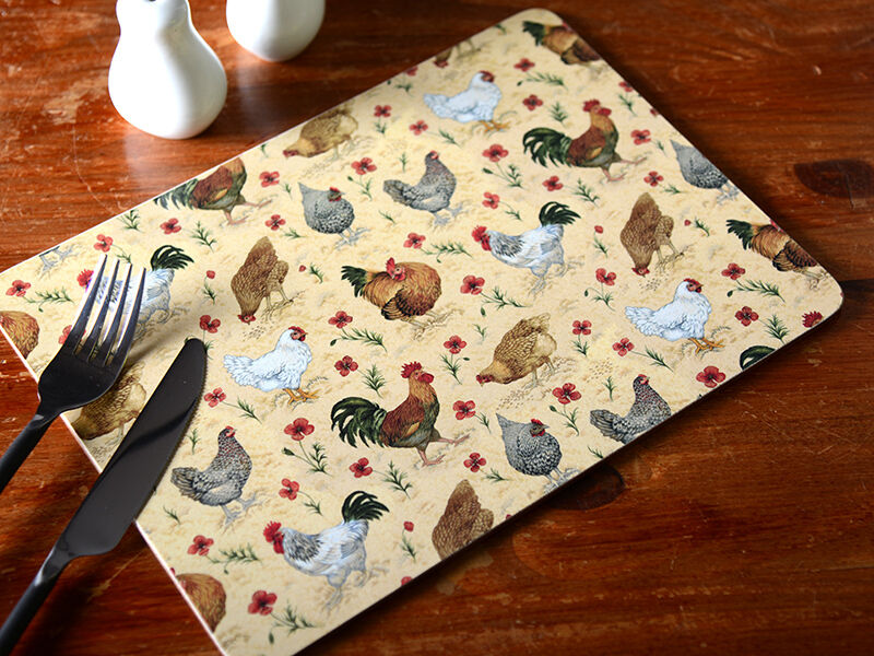 Set Of 4 Everyday Home Chicken Cork Backed Placemats Table