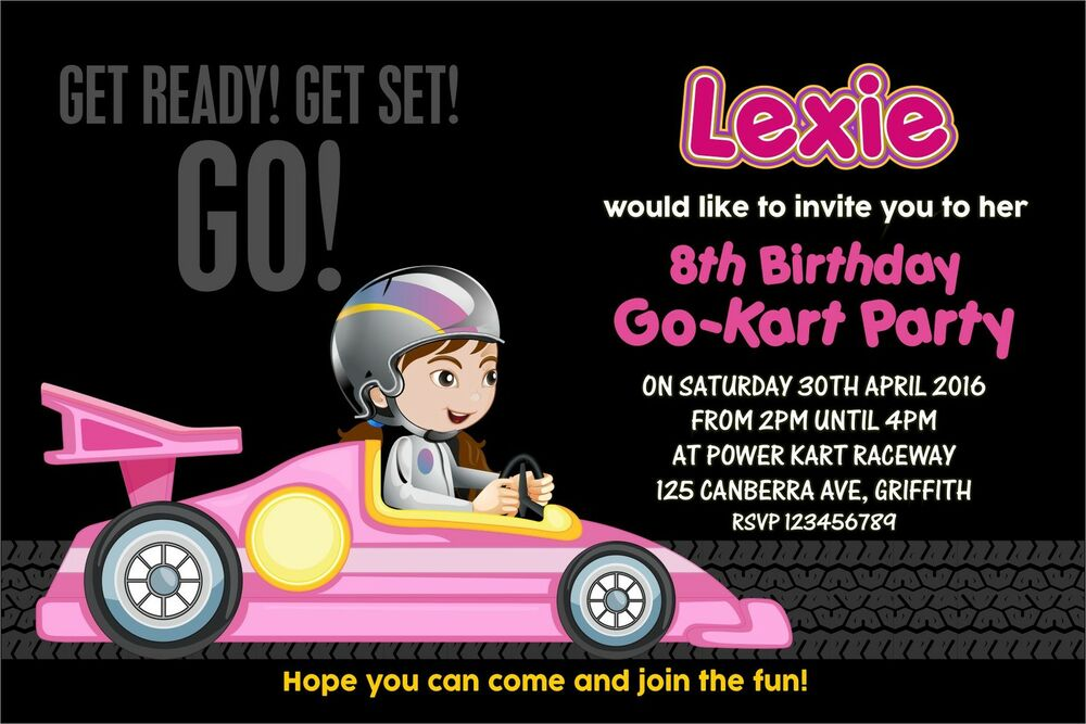 Personalised Birthday Invitations Girls Racing Car Go Kart Party x 5 ...