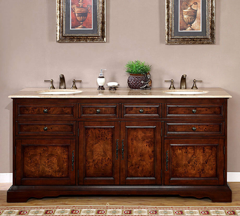 72 Quot Lavatory Travertine Stone Top Double Sink Bath Cabinet