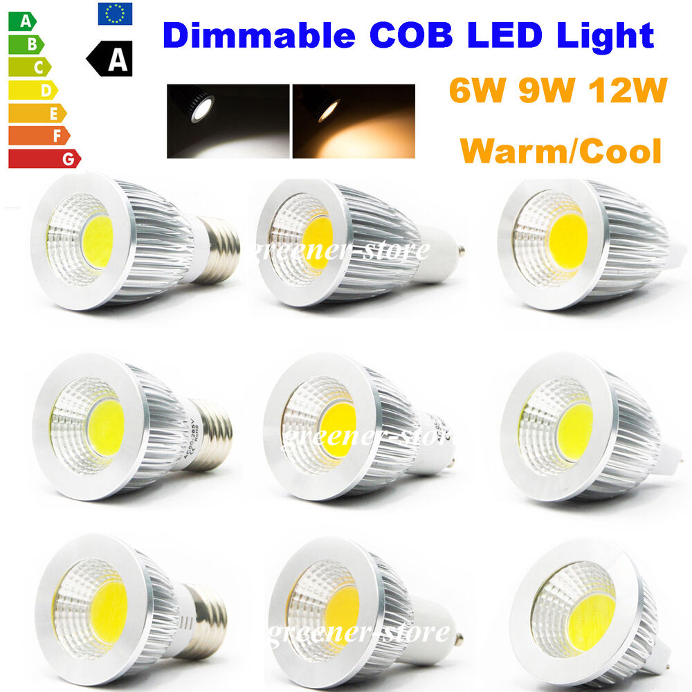 6w 9w 12w Cob Led Spot Light Gu10 Mr16 E27 Lamp Spotlight Replace Halogen Bulb Ebay