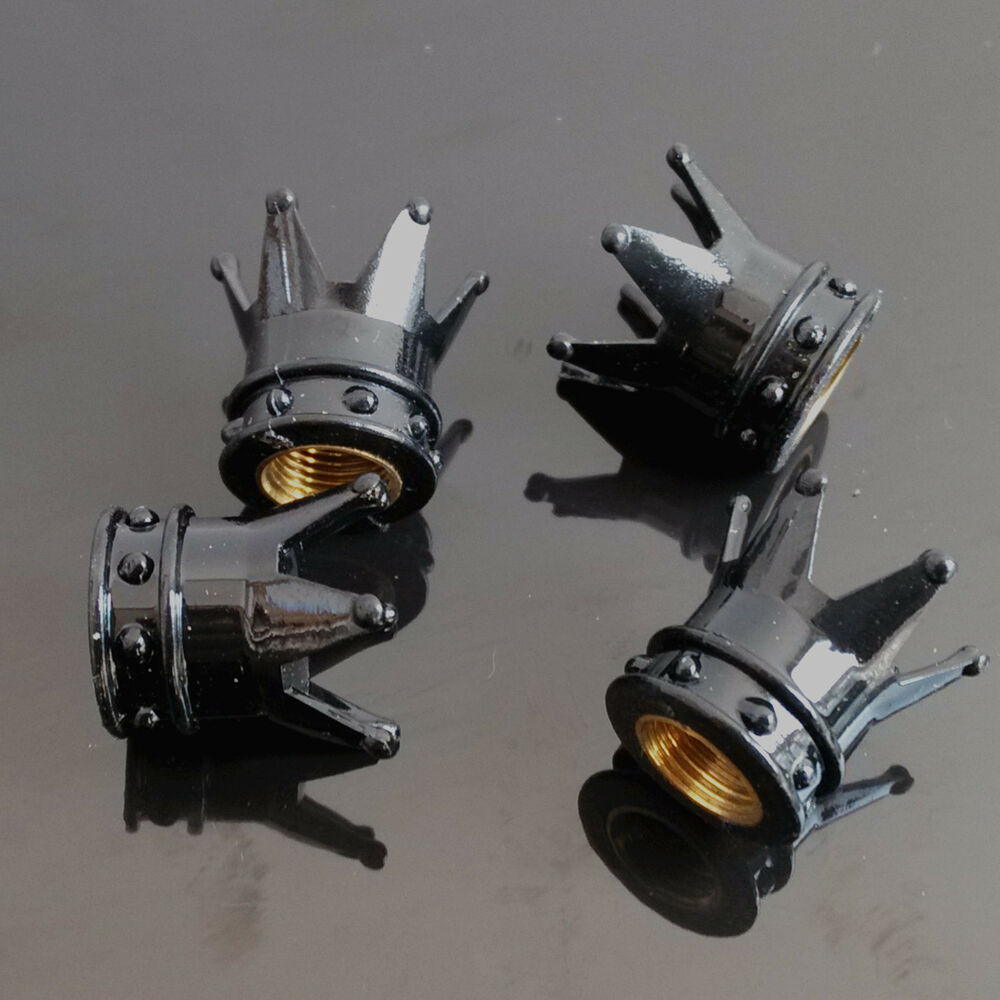 4x Black Kings Crown Tyre Tire Wheel Valve Stems Air Dust