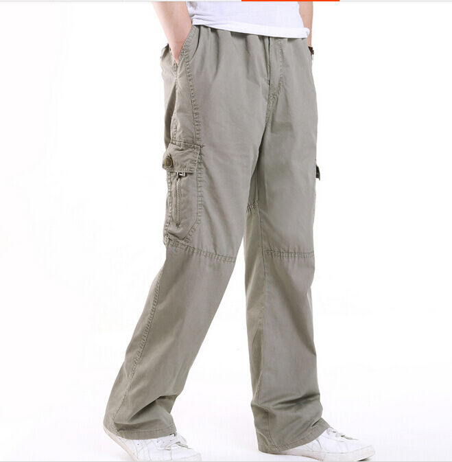 Mens Loose Trousers Work Casual Cotton Cargo Pant Big Plus ...
